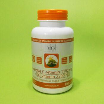 Bioheal Acerolás C-vitamin 1100mg+D3-vitamin 2200NE tabletta 105db