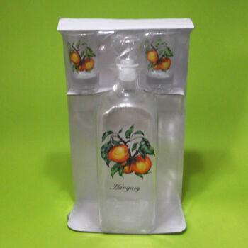 Hungary pálinkás üveg+2 db pohár