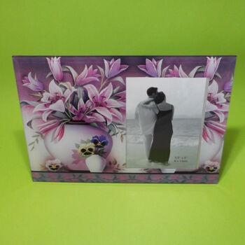 Virágos képkeret 9x13cm