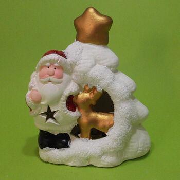 Mécsesház Karácsonyi ledes világító Mikulás figurával 12cm