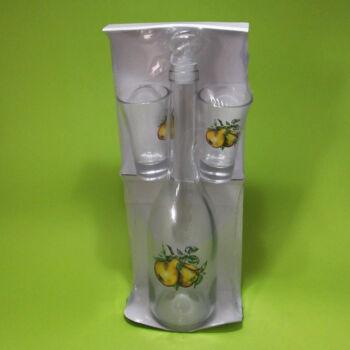 Pálinkás üveg + 2db pohár