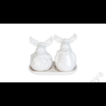 CLEEF.6CE0510 Kerámia szarvas só- bors szóró szett, fehér, 9x9x12cm
