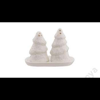 CLEEF.6CE0753 Porcelán fehér só-bors szóró szett, fenyőfa pár, 10x5x7cm