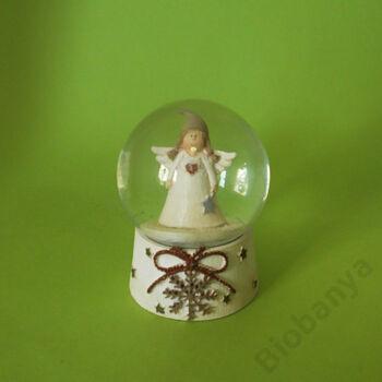 Hógömb angyal sapkában 6,5cm