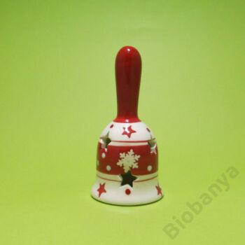 Hópelyhes nyeles csengő piros-fehér kerámia 5x10cm