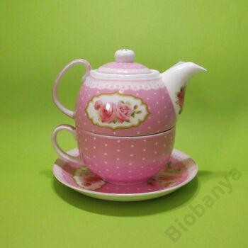 3 részes rózsás porcelán teáskészlet -1 személyes