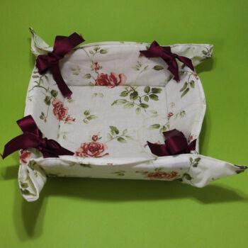 Rózsás textil kenyérkosár